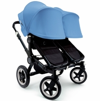 Bugaboo Donkey Twin Stroller, Extendable Canopy - All Black / Ice Blue