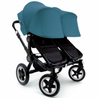 Bugaboo Donkey Twin Stroller, Extendable Canopy - All Black / Petrol Blue