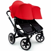 Bugaboo Donkey Twin Stroller, Extendable Canopy - All Black / Red