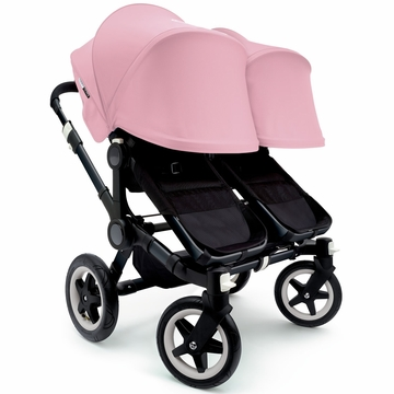 Bugaboo Donkey Twin Stroller, Extendable Canopy - All Black/Soft Pink