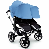 Bugaboo Donkey Twin Stroller, Extendable Canopy - Black / Ice Blue