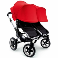 Bugaboo Donkey Twin Stroller, Extendable Canopy - Black / Red