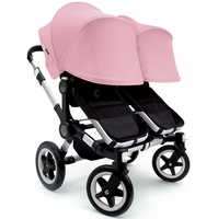 Bugaboo Donkey Twin Stroller, Extendable Canopy - Black / Soft Pink