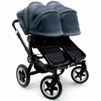 Bugaboo Donkey Twin Stroller in All Black/Diesel Denim