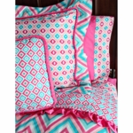 Caden Lane Big Kid Twin Ikat Duvet Cover in Ikat Pink