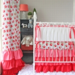 Caden Lane Girly Coral Rose Ruffle 2 Piece Crib Set (Limited Edition)