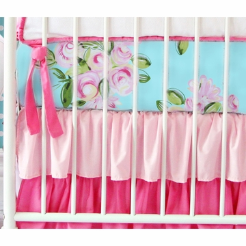 Caden Lane Girly Tiny Bouquet Ruffle 2 Piece Crib Set (Limited Edition)