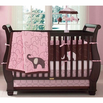 Carter's Elephant Pink 4 Piece Crib Bedding Set