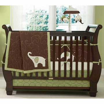Carter's Elephants Green 4 Piece Crib Bedding Set