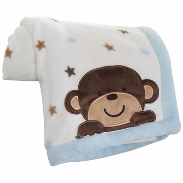 Carter's Monkey Rockstar Embroidered Boa Blanket