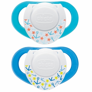 Chicco Hard Shield Orthodontic Pacifiers - Blue - 4M+