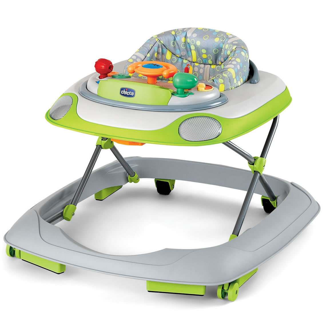 Chicco Little Driver Baby Walker Silver on easy chair