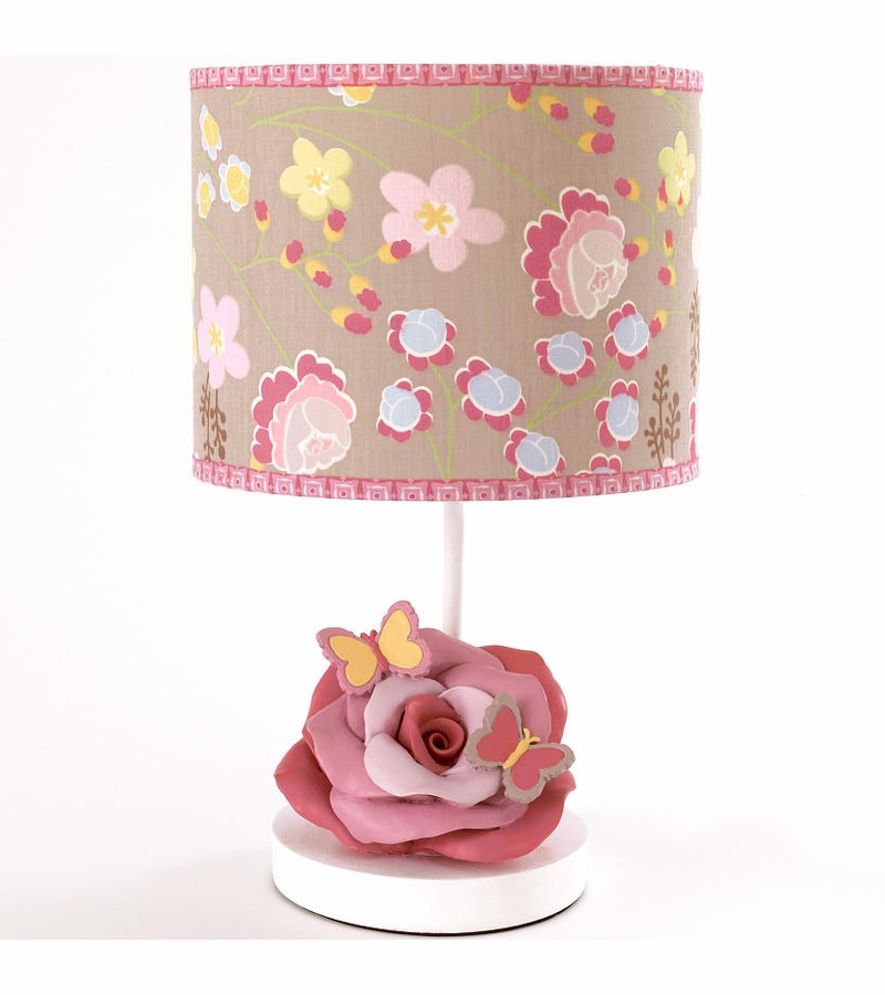 cocalo maeberry girl 39 s nursery lamp butterfly pink yellow flower. Black Bedroom Furniture Sets. Home Design Ideas