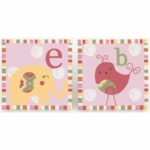 CoCo & Company Alphabet Sweeties 2 Piece Wall Art