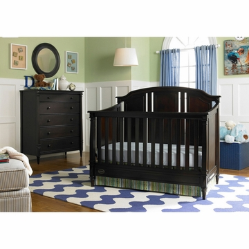 Dolce Babi Bella 2 Piece Nursery Set in Espresso - Convertible Crib & 5 Drawer Dresser