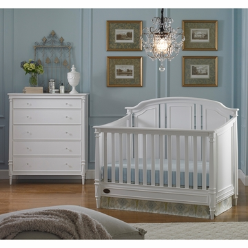 Dolce Babi Bella 2 Piece Nursery Set in Snow White - Convertible Crib & 5 Drawer Dresser