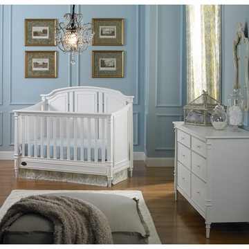 Dolce Babi Bella 2 Piece Nursery Set in Snow White - Convertible Crib & Double Dresser