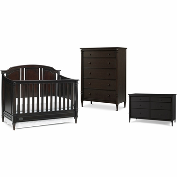 Dolce Babi Bella 3 Piece Nursery Set in Espresso - Convertible Crib, Double Dresser & 5 Drawer Dresser