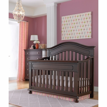 Dolce Babi Naples 2 Piece Nursery Set in Cherry - Convertible Crib & 5 Drawer Dresser