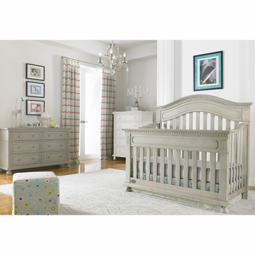 Dolce Babi Naples 2 Piece Nursery Set in Grey Satin - Convertible Crib & Double Dresser