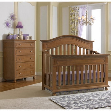 Dolce Babi Naples 2 Piece Nursery Set in Harvest Brown - Convertible Crib & 5 Drawer Dresser