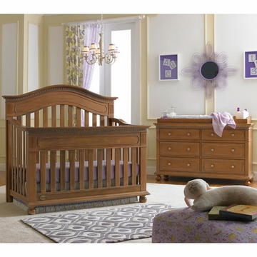 Dolce Babi Naples 2 Piece Nursery Set in Harvest Brown - Convertible Crib & Double Dresser