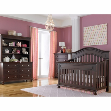 Dolce Babi Naples 3 Piece Nursery Set in Cherry - Convertible Crib, Double Dresser & 5 Drawer Dresser