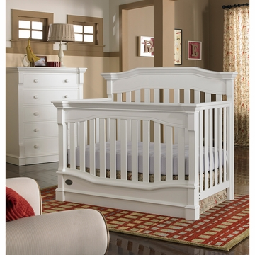 Dolce Babi Roma 2 Piece Nursery Set in Snow White - Convertible Crib & 5 Drawer Dresser