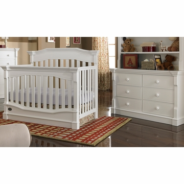 Dolce Babi Roma 2 Piece Nursery Set in Snow White - Convertible Crib & Double Dresser
