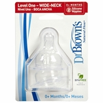 Dr. Brown's Level-1 Wide Neck Nipple, 2-Pack