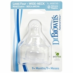 Dr. Brown's Level-4 Wide Neck Nipple, 2-Pack