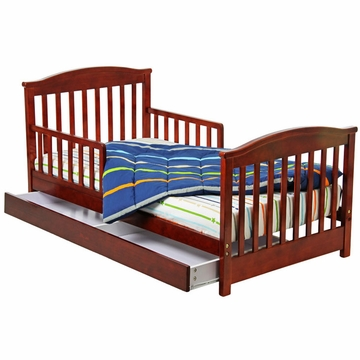 Dream On Me Mission Collection Toddler Bed with Storage Drawer in Cherry