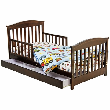Dream On Me Mission Collection Toddler Bed with Storage Drawer in Espresso