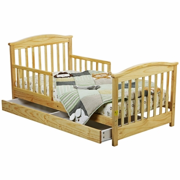 Dream On Me Mission Collection Toddler Bed with Storage Drawer in Natural