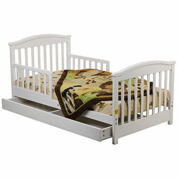 Dream On Me Mission Collection Toddler Bed with Storage Drawer in White