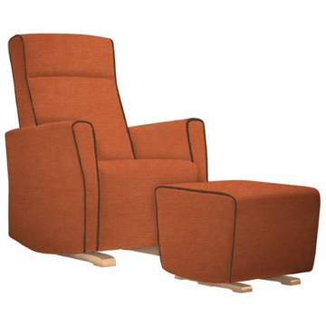 Dutailier Fogo Upholstered Glider with Contrast Piping