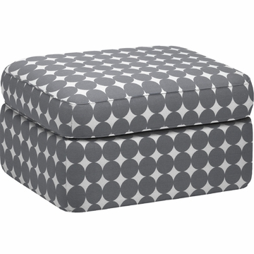 DwellStudio Rounded Ottoman in Dotscape Charcoal