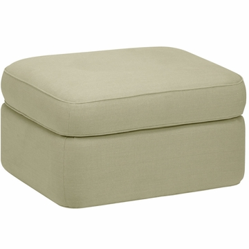 DwellStudio Rounded Ottoman in Linen Celadon
