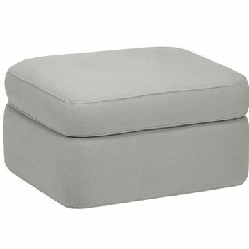 DwellStudio Rounded Ottoman in Linen Ice Blue