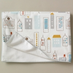 DwellStudio Skyline Light Blue Stroller Blanket - Flannel
