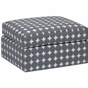 DwellStudio Standard Ottoman in Dotscape Charcoal