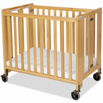 Foundations HideAway EasyRoll Wooden Folding Crib in Natural