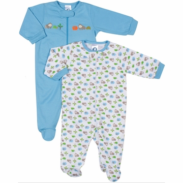 Gerber Boy 2 Pack Zip Front Sleep 'N Play Footie - 3 to 6 Months