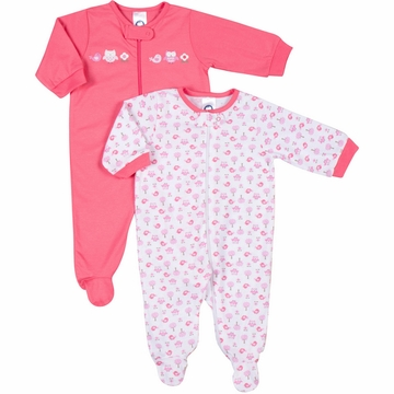 Gerber Girl 2 Pack Zip Front Sleep 'N Play Footie - 0 to 3 Months