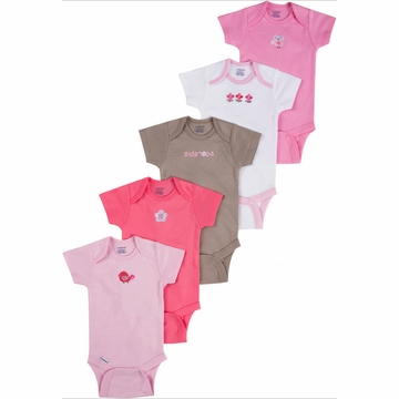 Gerber Girl 5 Pack Solid Onesies - 6 to 9 Months