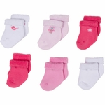 Gerber Girl 6 Pack Variety Socks - 0 to 3 Months