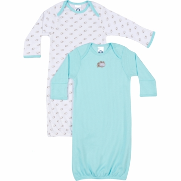 Gerber Boy 2 Pack Lap Shoulder Gown - 0-6 Months