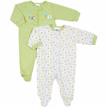 Gerber Neutral 2 Pack Zip Front Sleep 'N Play Footie - 0 to 3 Months