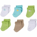 Gerber Neutral 6 Pack Variety Socks - 0 to 3 Months