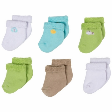 Gerber Neutral 6 Pack Variety Socks - 6 to 9 Months